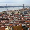 Aerial View of a city, Castelo, Lisbon, Portugal