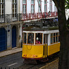 Cable car on street, Lisbon, Santo Antonio church, Lisboa Region, Portugal