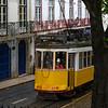 Cable car on street, Lisbon, Santo Antonio church, Lisboa Region, Portugal