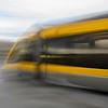 Moving bus on bridge, Dom Luis I Bridge, Sao Nicolau, Porto, Northern Portugal, Portugal