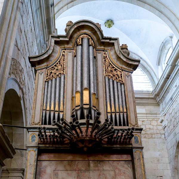 Low angle view of pipe organ in the Monastery of Santa Maria de Salzedas, Douro Valley, Portugal, Salzedas