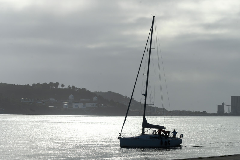 Silhouette of sailboat in river, Santa Maria de Belem, Lisbon, Portugal