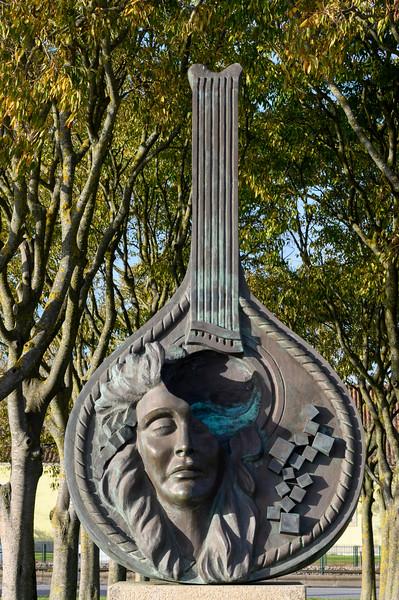 Close-up of guitar statue, Santa Maria de Belem, Lisbon, Setubal District, Portugal