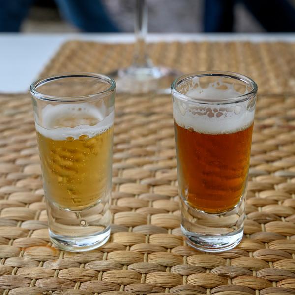 Close-up of two glasses of beer, Sao Cristovao e Sao Lourenco, Lisbon, Portugal