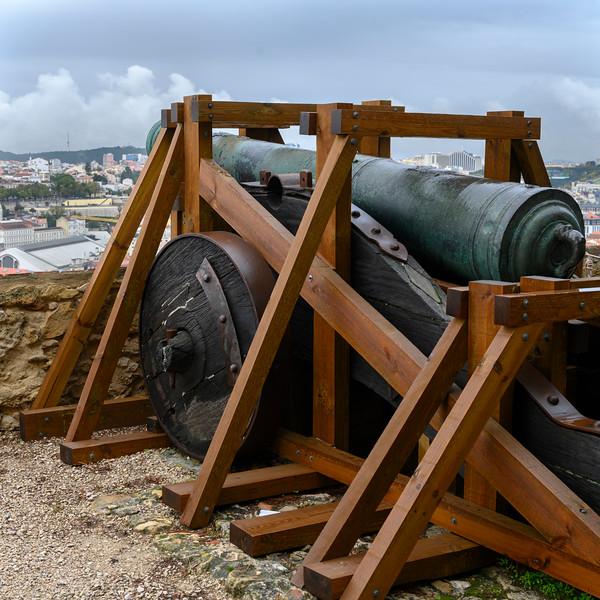 Cannon at St. George's Castle, Castelo, Lisbon, Portugal