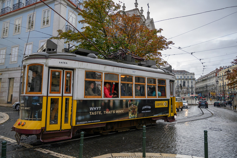 Cable car on street, Sacramento, Lisbon, Portugal