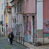 Woman walking on the street, Bairro Alto, Santa Catarina, Lisbon, Portugal