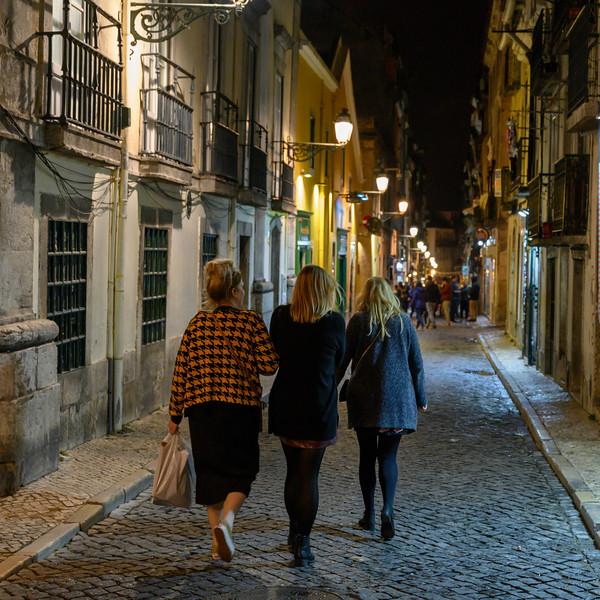 Women walking on street, Encarnacao, Lisbon, Portugal