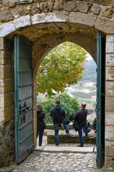 Tourists enjoying scenic view, obidos, Leiria District, Portugal
