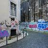 Street art painted houses on the street, Bairro Alto, Lisbon, Portugal