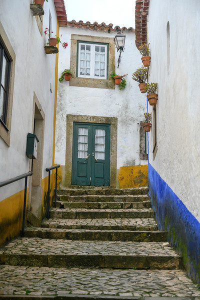 Stairway outside houses in a town, Obidos, Leiria District, Portugal