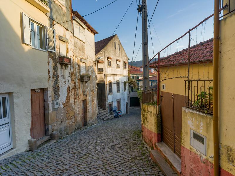 Cobblestone Alley in Old Jewish Quarter, Salzedas, Douro Valley, Portugal