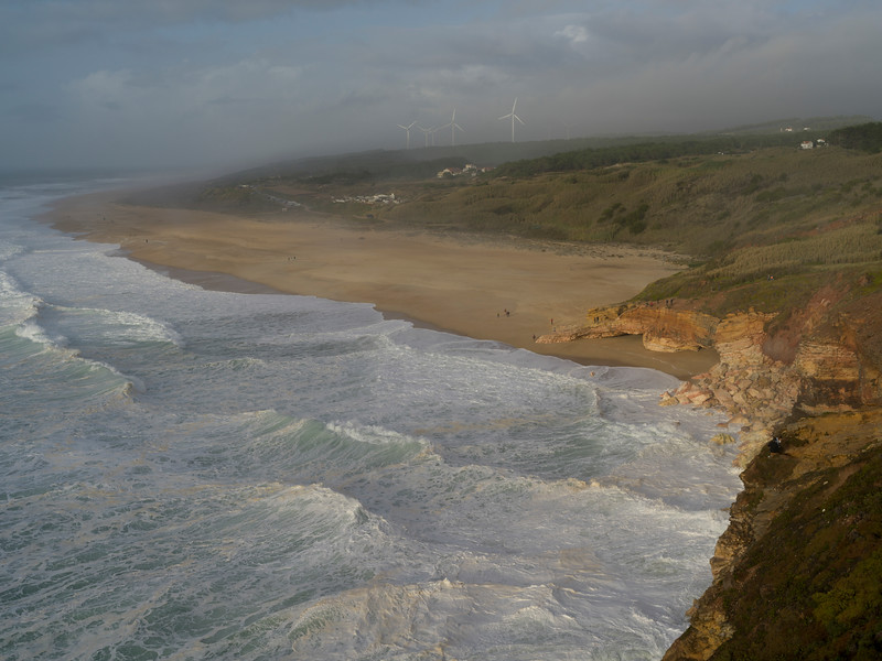 Aerial view of the beach, Nazare, Portugal