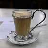Close-up of cup of latte, Santo Ildefonso, Porto, Northern Portugal, Portugal
