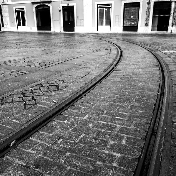 Railroad Tracks, Lisbon, Portugal