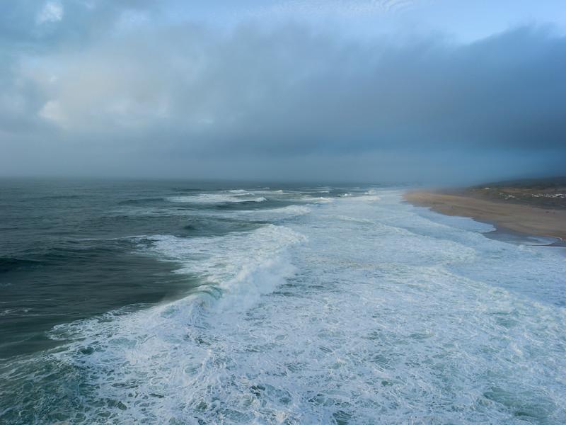 Scenic view of the beach coastline, Nazare, Portugal