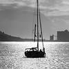 Silhouette of sailboat in river, Santa Maria de Belem, Lisbon, Portugal
