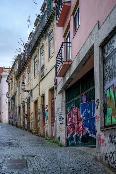 View of houses along street, Bairro Alto, Santa Catarina, Lisbon, Portugal