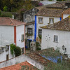 Rooftops of Houses in a town, Obidos, Leiria District, Portugal