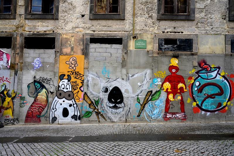Street Art covered walls, Se do Porto, Porto, Northern Portugal, Portugal