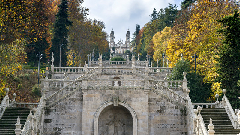Facade of Shrine of Our Lady of Remedies, Lamego, Viseu District, Northern Portugal, Portugal