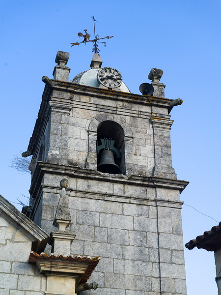 Low angle view of bell tower, Salzedas, Douro Valley, Portugal
