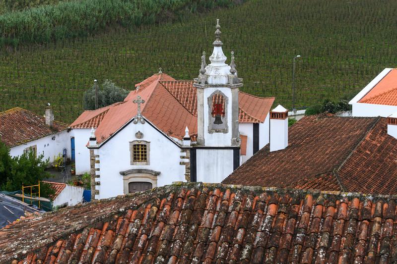 Elevated view of a church, Obidos, Leiria District, Portugal