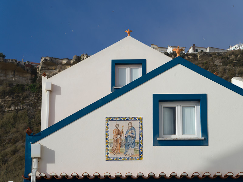 Low angle view of a church, Nazare, Portugal