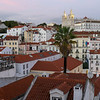 Buildings in city with Monastery of Sao Vicent de Fora, Miradouro De Santa Luzia, Sao Miguel, Lisbon, Portugal