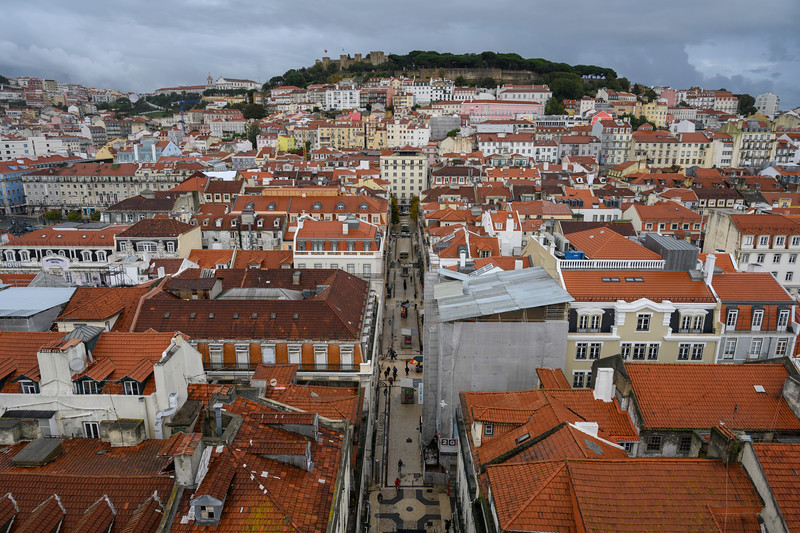 Aerial View of houses in a city, Sao Nicolau, Lisbon, Portugal