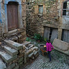 High angle view of woman pushing wheelbarrow, Jewish Quarter, Salzedas, Douro Valley, Viseu District, Portugal