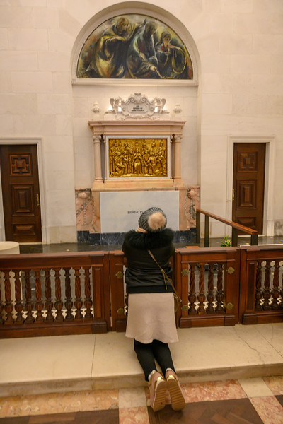 Woman praying in basilica, Basilica of Our Lady of the Rosary, Fatima, Ourem Municipality, Santarem District, Portugal