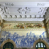 Azulejo panel at Sao Bento railroad station, Santo Ildefonso, Porto, Northern Portugal, Portugal