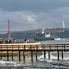 Pier on Tagus River with 25 de Abril Bridge in the background, Santa Maria de Belem, Lisbon, Portugal,