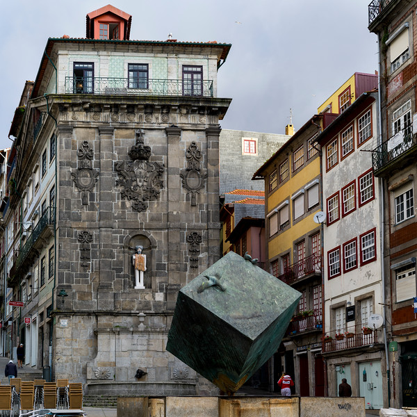 View of a sculpture in Ribeira Square, Porto, Portugal