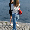 Woman taking picture of her friend, Alcantara, Lisbon, Setubal District, Portugal
