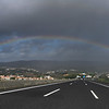 Rainbow over roadway, Sintra, Lisbon, Portugal