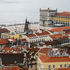 Aerial View of a city, St. George's Castle, Castelo, Lisbon, Portugal