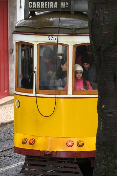 Cable car on street, Santo Antonio church, Lisbon, Se, Lisboa Region, Portugal