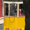 Cable car on street, Santo Antonio church, Lisbon, Se, Lisboa Region, Portugal