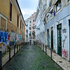 Street Art painted houses on the street, Bairro Alto, Lisbon, Portugal