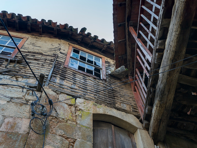Low angle view of damaged building, Old Jewish Quarter, Old Jewish Quarter, Salzedas, Douro Valley, Portugal