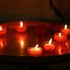 Close-up of burning candles, Obidos, Leiria District, Portugal