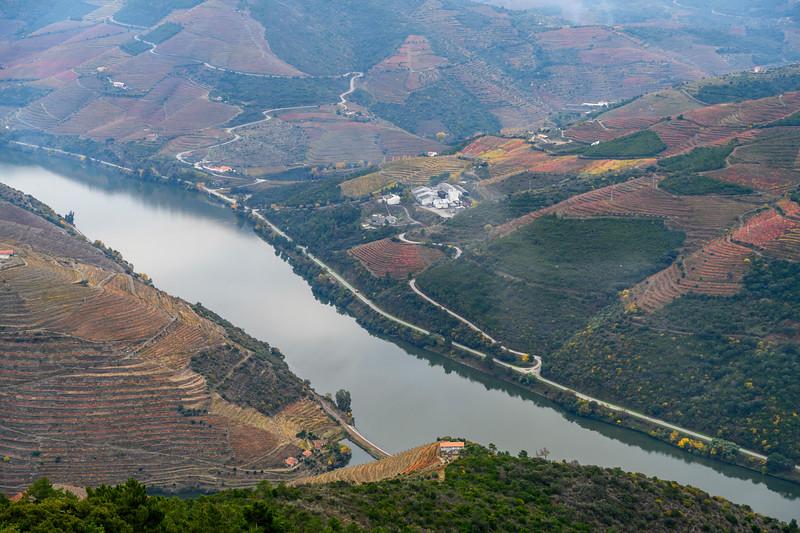 Aerial view of river passing through valley, Sao Leonardo De Galafura, Peso da R�gua, Vila Real, Douro Valley, Portugal