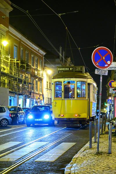 Street scene at night, Encarnacao, Lisbon, Portugal