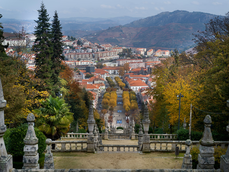 Town view from the Shrine of Our Lady of Remedies, Lamego, Viseu District, Northern Portugal, Portugal
