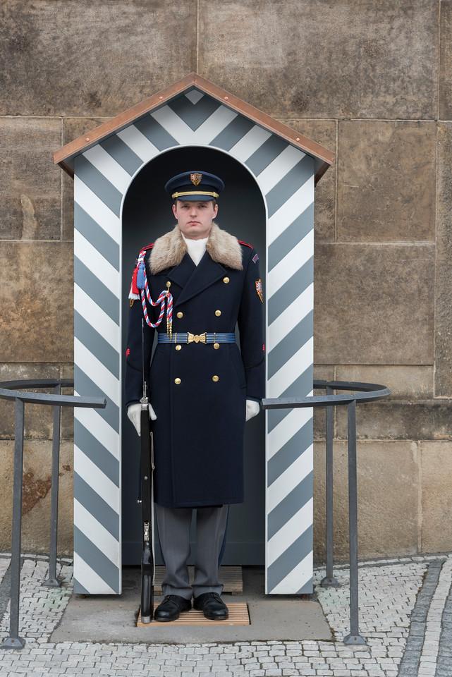 Castle guard on duty at Prague Castle, Prague, Czech Republic