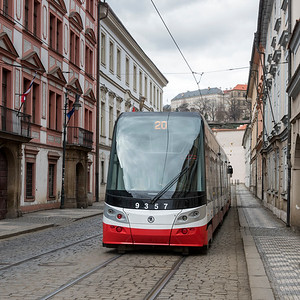 Tram moving on city street, Prague, Czech Republic