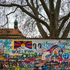 Close-up of graffiti covered wall, John Lennon Wall, Prague, Czech Republic