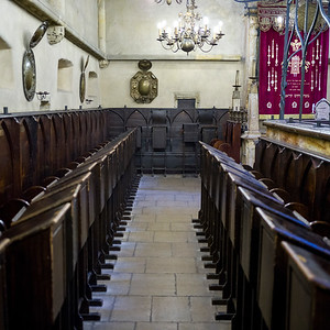 Pews in a synagogue, Prague, Czech Republic
